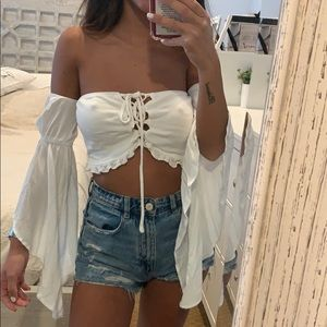 Tops - Off the shoulder lace up front pretty white crop